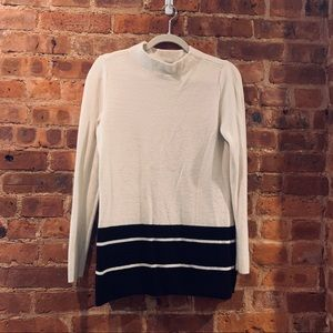 White and black Mock Neck Loft sweater